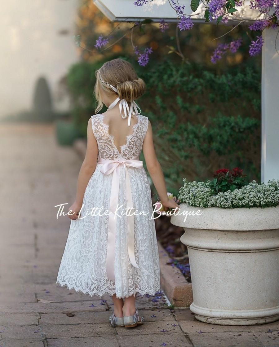 Wedding - Bohemian flower girl dress, White lace flower girl dress, rustic flower girl dress, boho flower girl dress, White Lace dress, flower girl