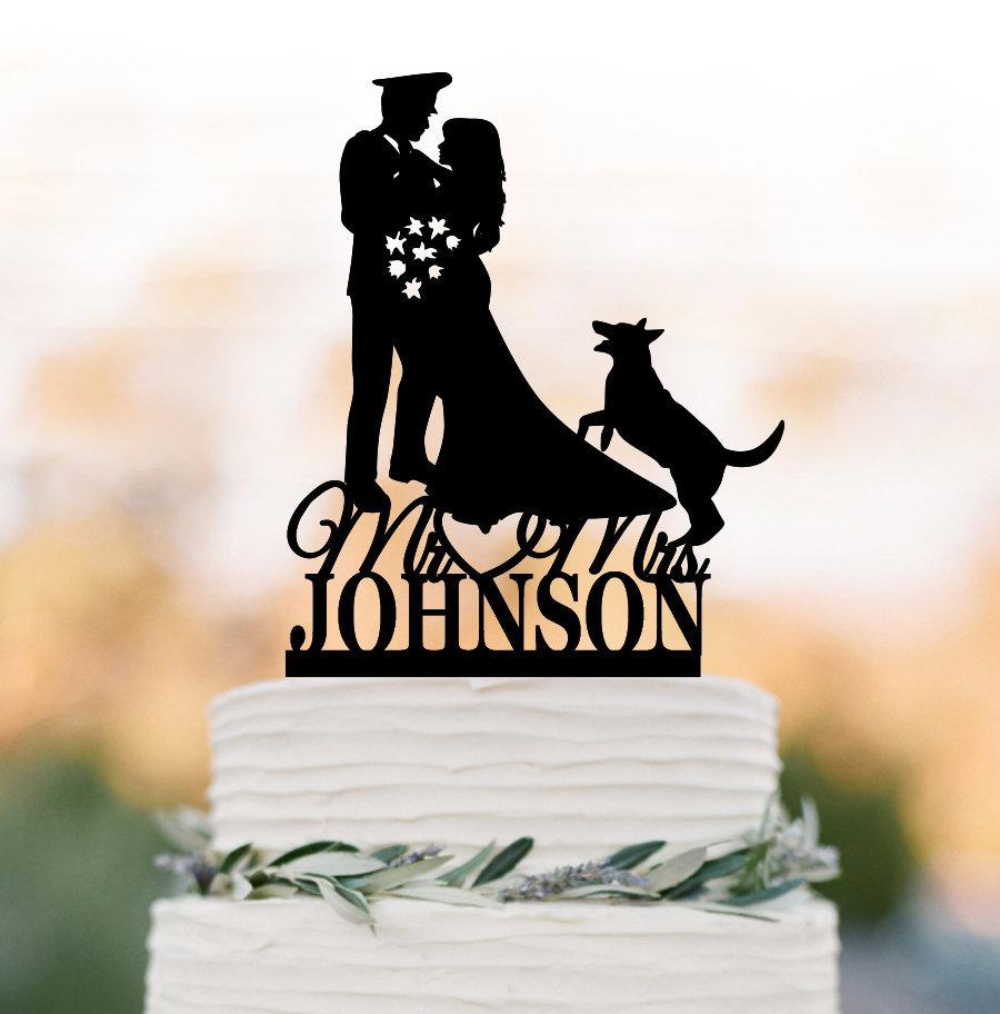 Wedding - Personalized Wedding Cake toppers with dog, Police Man groom and bride silhouette  funny wedding cake topper police man cake topper