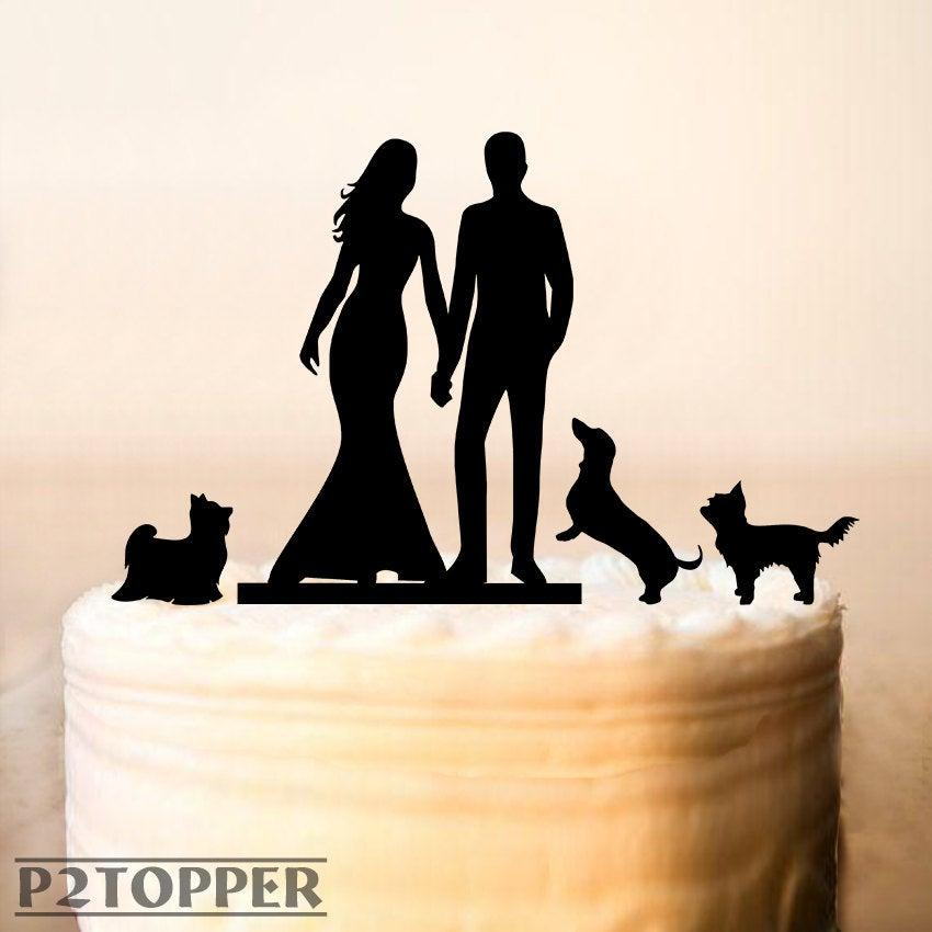 Wedding - Cake Topper With Three Dog,Wedding Cake Topper With Dog,Personalized Silhouette Cake Topper With Dog,Mr and Mrs Cake Topper (0121)