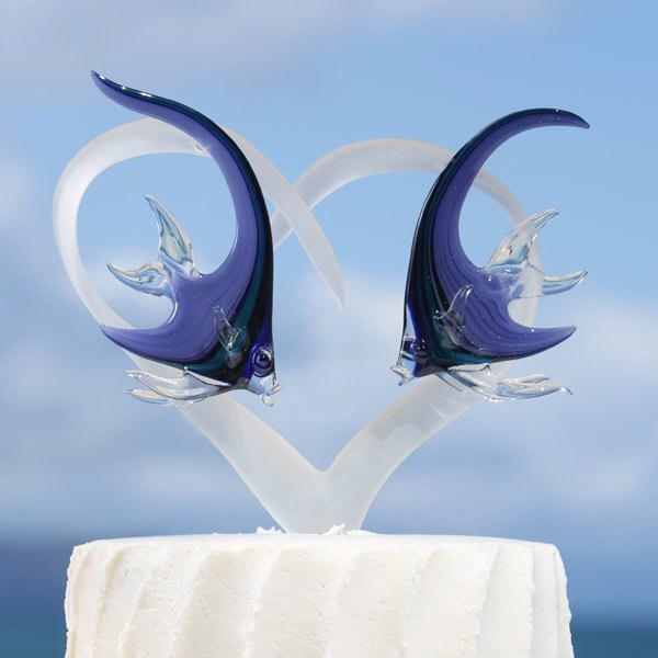Hochzeit - Frosted Glass Heart Cake Topper with Two Angelfish