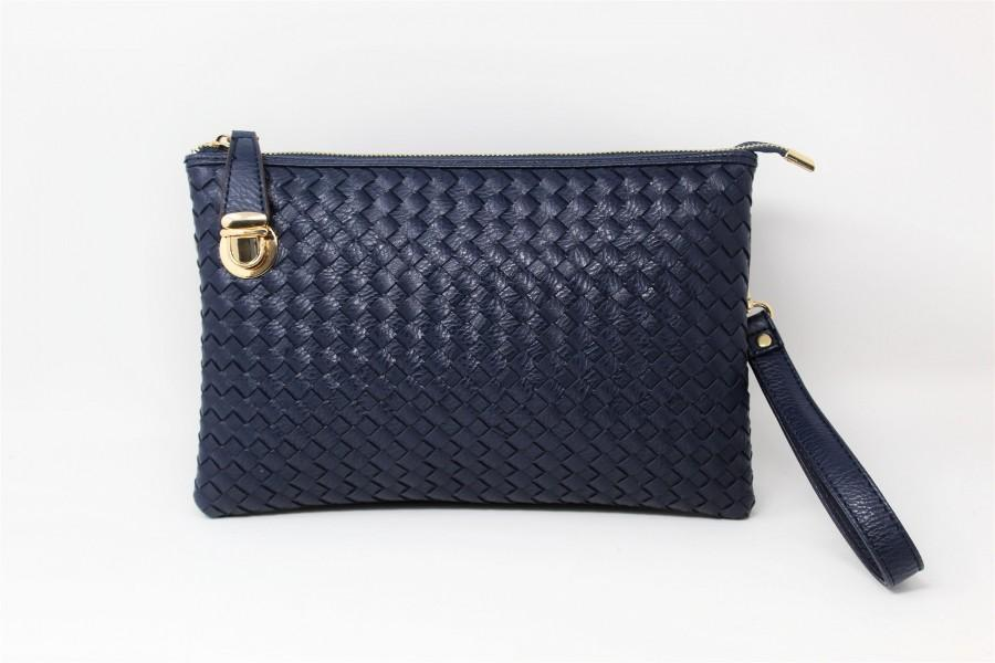 زفاف - Navy-Blue Leather Clutch Handbag