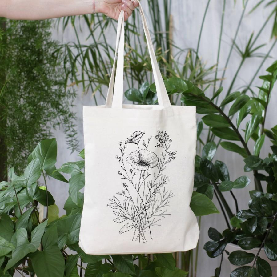 Mariage - Tote bag, Canvas tote bag, Flower Bridesmaid tote, Bridal party tote,  Wedding bag, Botanical plant tote bag with zipper, Flower tote bag