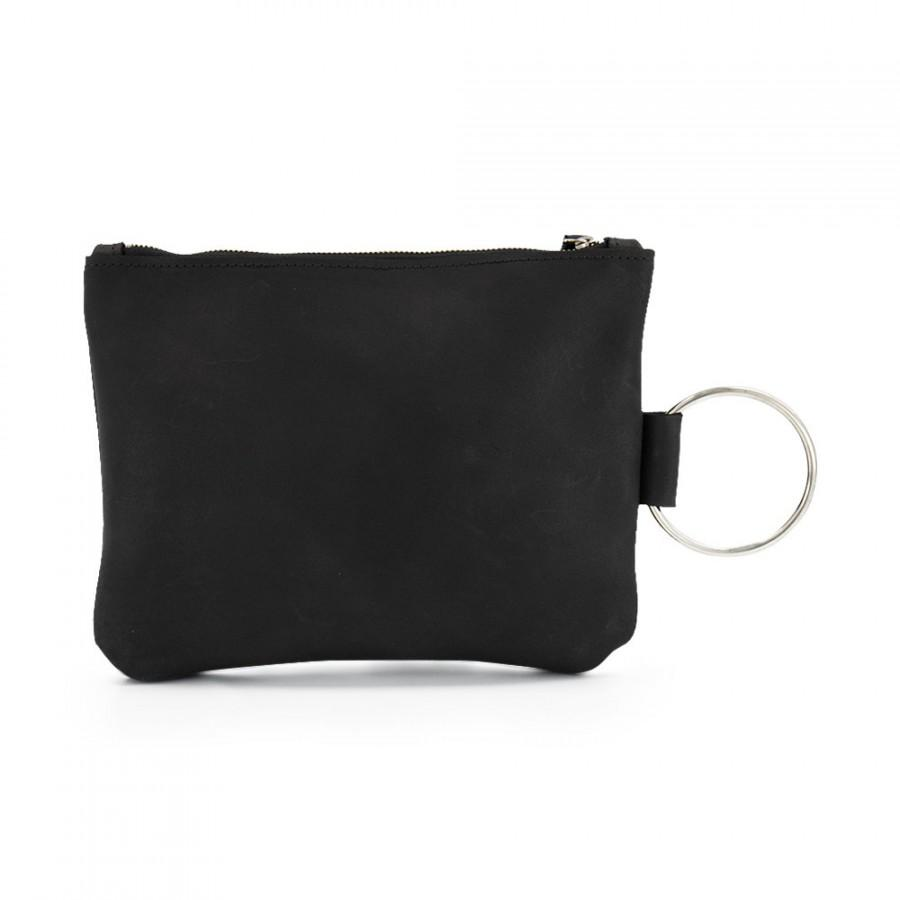 Свадьба - Black Leather clutch Purse, Bridal Party Gifts, Bridesmaid Gifts, Gift For Women, Bracelet Wristlet purse, Zipper Pouch with metal ring