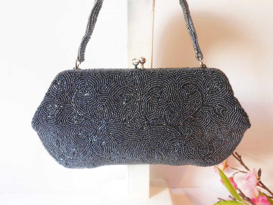 زفاف - Vintage Grey Bead Evening Bag. Beaded Clutch Bag, Made in Japan, EB-0221