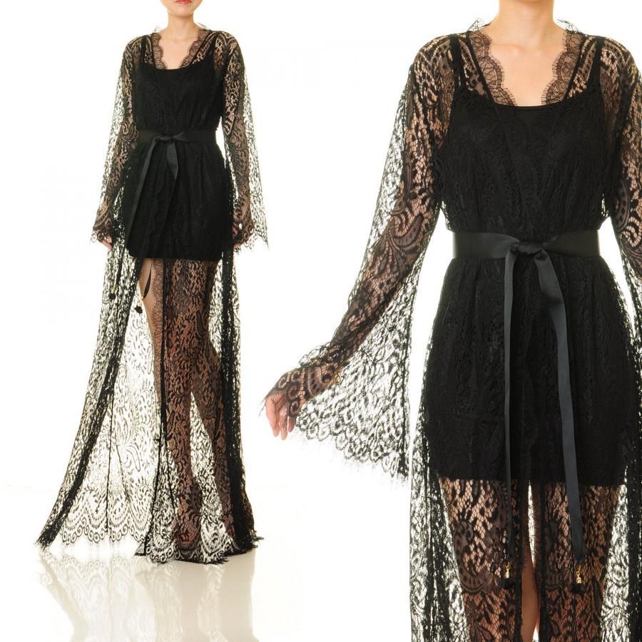 Mariage - Black Lace Robe Wedding Lingerie