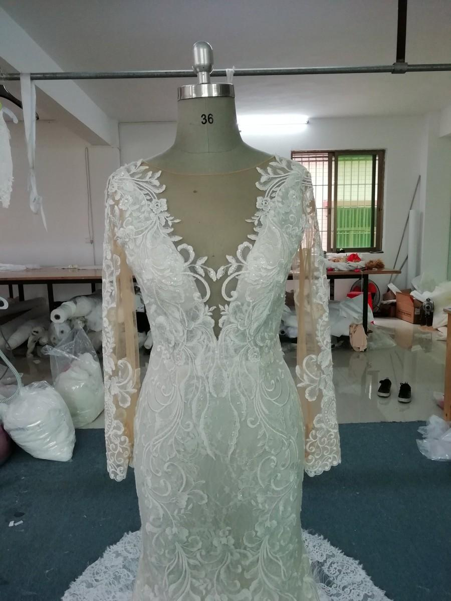 Mariage - Floral lace sparkle wedding gown modern gorgeous breath taking bridal dress(ALEXA)