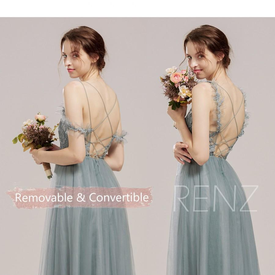 Свадьба - Bridesmaid Dress Dusty Blue Lace Wedding Dress Detachable Off Shoulder Sleeves Prom Dress Illusion Lace-up Back Tulle Formal Dress (HS847)