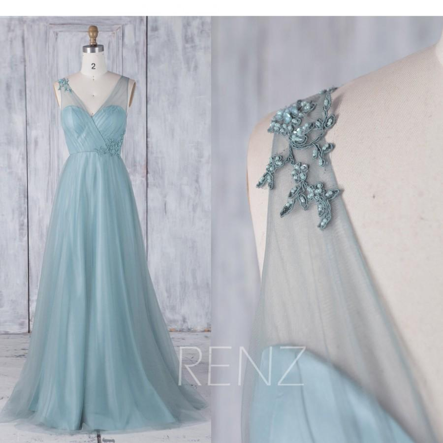 Mariage - Bridesmaid Dress Dusty Blue Wedding Dress Beaded Party Dress V Neck Tulle Ball Gown Sweetheart A-Line Prom Dress (HS455)