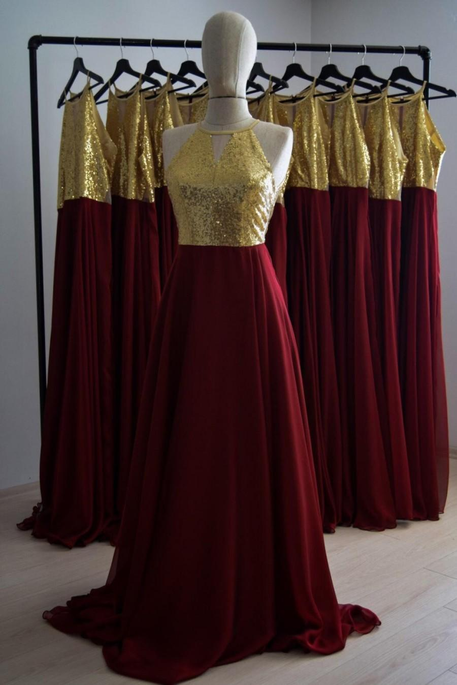 Mariage - Burgundy Silk Georgette/Chiffon With Top Sequin Gold Bridesmaid Dress, Floor Length Sequin Evening Dress, Wedding Party Maid Of Honor Dress
