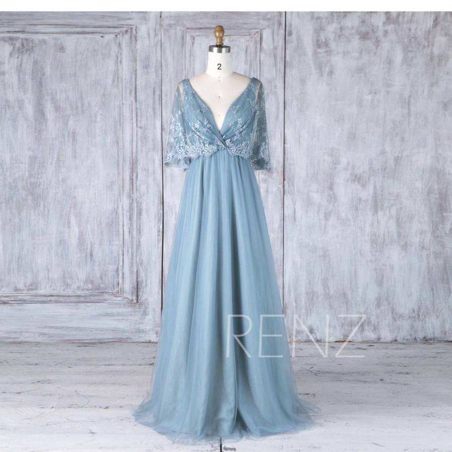 Hochzeit - Bridesmaid Dress Dusty Blue Deep V Neck Tulle Wedding Dress Illusion Lace Sleeves Maxi Dress A Line V Back Evening Dress Floor Length(HS525)