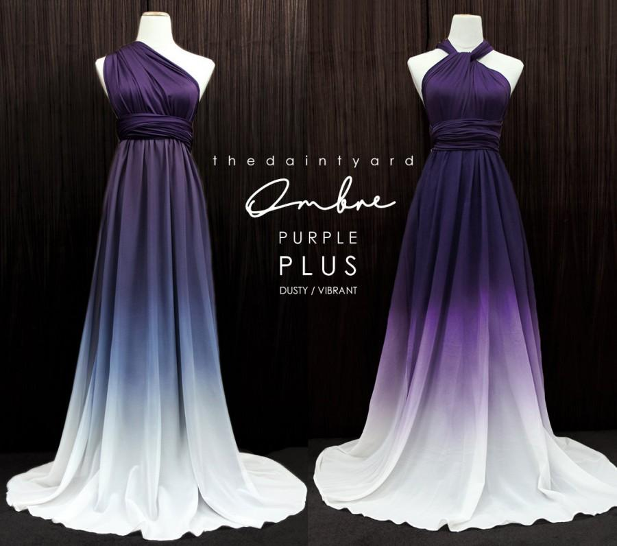 Hochzeit - TDY Plus Size Ombre Purple Bridesmaid Maxi infinity dress / Multiway Dress / Convertible Wrap dress WITH Purple ombre Chiffon Overlay Skirt