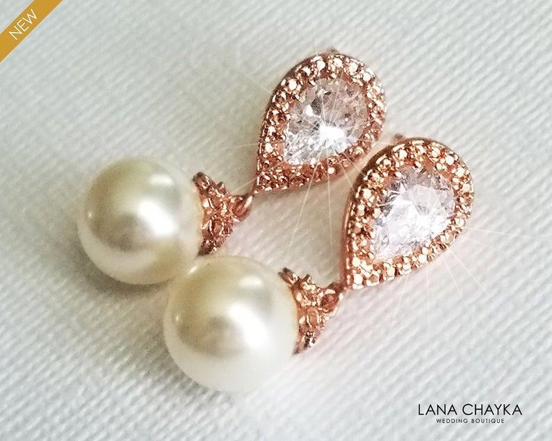 Wedding - Pearl Rose Gold Bridal Earrings, Swarovski 10mm Ivory Pearl Earrings, Wedding Pearl Drop Earrings, Pink Gold Ear Studs, Bridesmaids Earrings