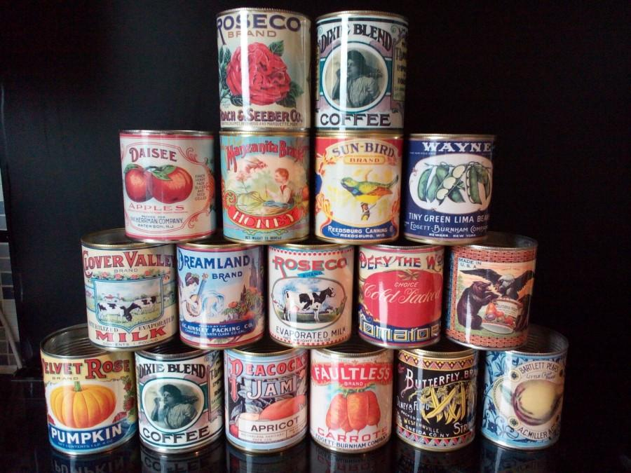 Mariage - Vintage food tin cans larger size.  Storage for home, cutlery holder, cafes, shop & restaurant display. Props  replica labels recycled green