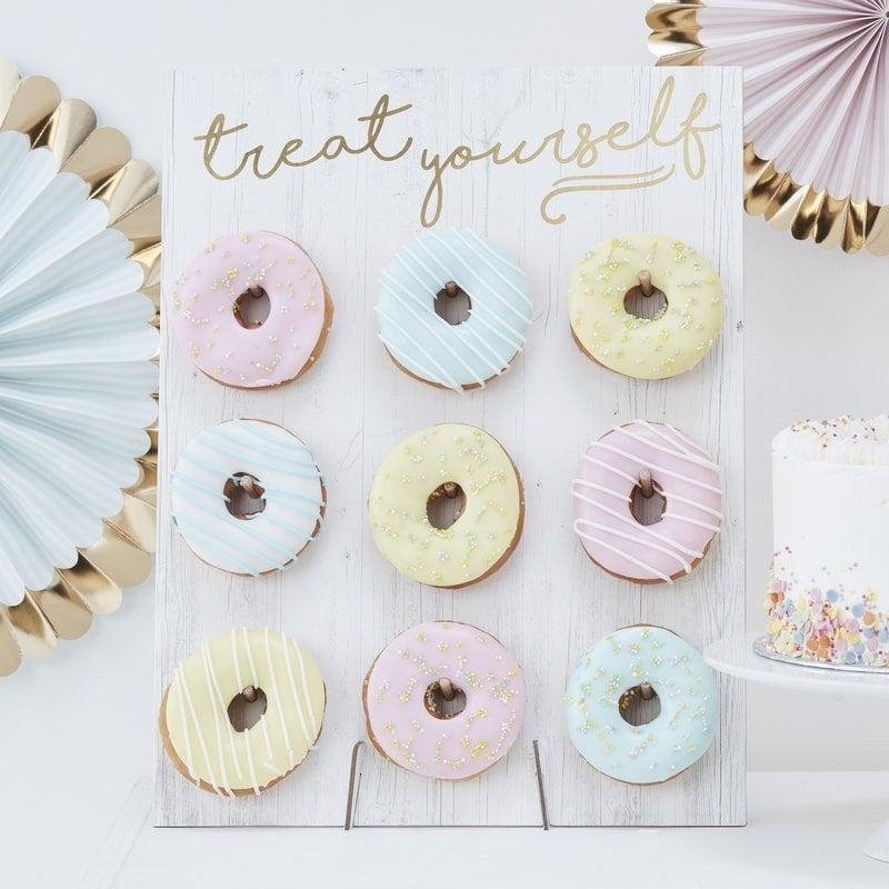 Hochzeit - Treat Yourself pastel donut wall -Doughnut wall-Donut stands-Birthday cake stand alternative-Hip hip hooray-Sweet table -Party dessert stand
