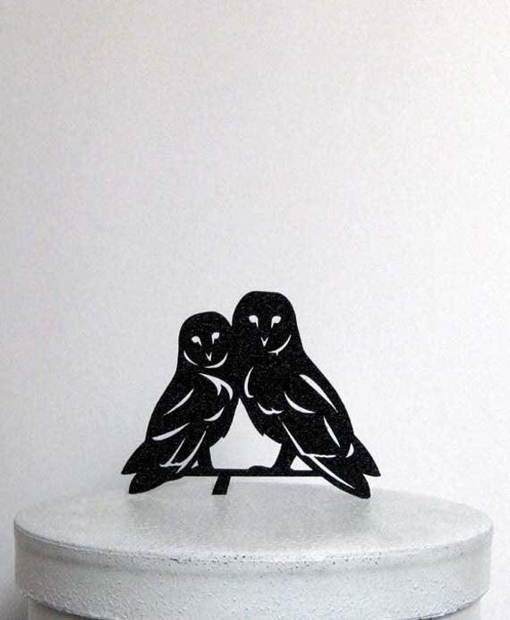 Wedding - Wedding Cake Topper - Owls in Love wedding cake topper