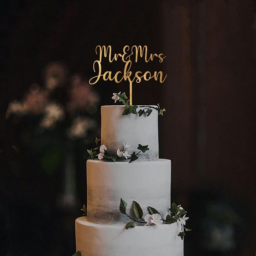 Wedding - Personalized Wedding Cake Topper Mr and Mrs / Cake Topper Engagement / Cake Topper Wood Gold SIlver Rose Gold / Rustic Wedding Cake Topper
