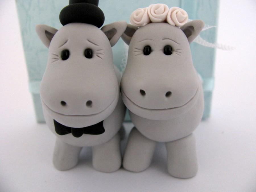 Wedding - Hippo love - grey  - wedding cake topper - polymer clay