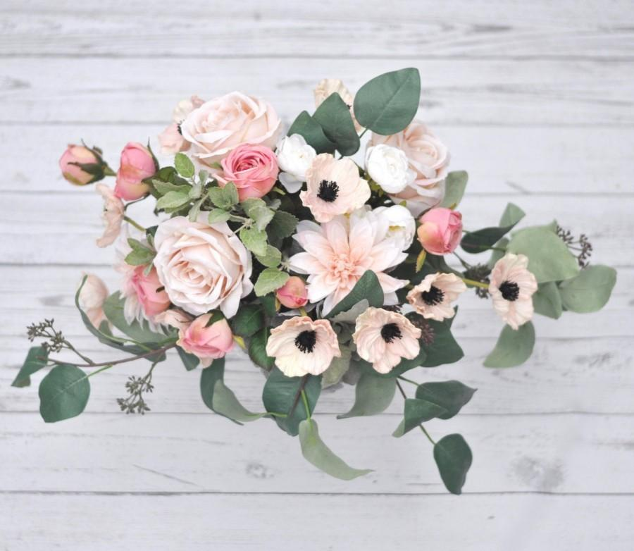 Свадьба - Boho Bouquet Blush Pink Bridal Silk and Real Touch Wedding Flowers Eucalyptus Peony Rose Poppy Dahlia Anemone Wedding Bouquet