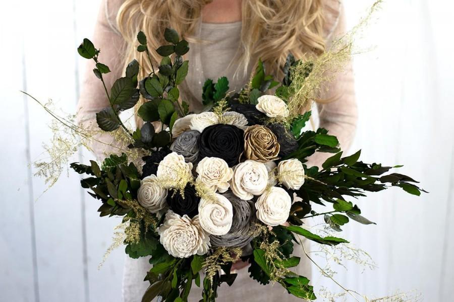 "Wedding - XL Flowerbouquet ""Louis XIV."" - Great Gatsby - Sola Bouquet - Wooden Flowers - Preserved Eucalyptus - Bridal Bouquet - Decoration - Weddings"