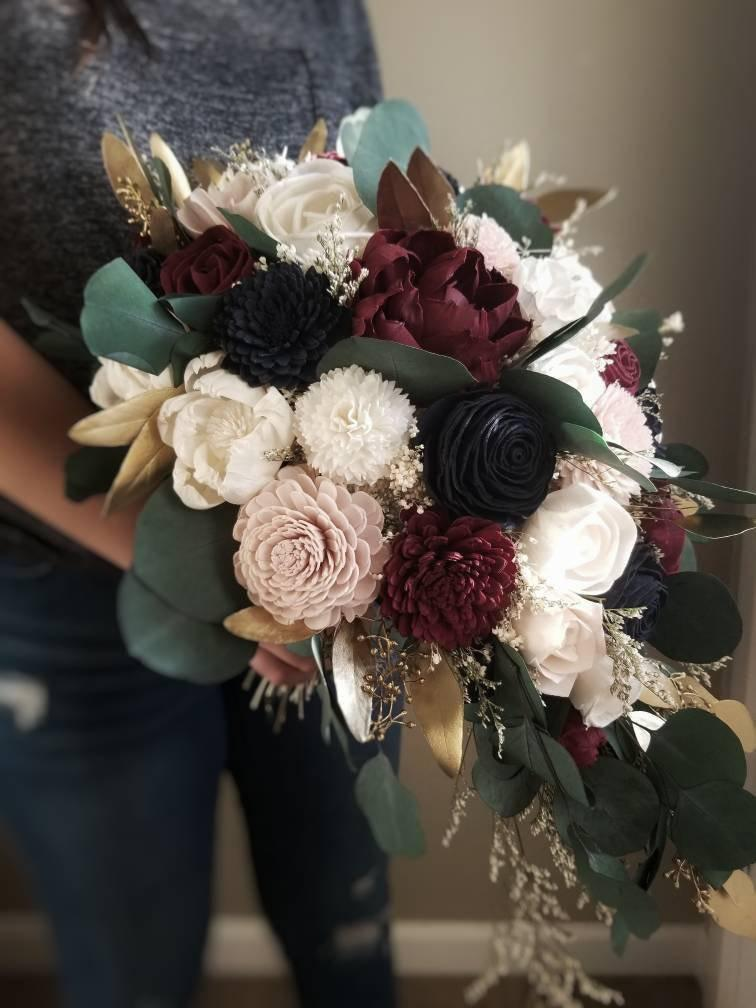 Hochzeit - Custom Bouquet Blush Wine Burgundy Navy Gold Sola Wood and dried Flower Cascade Wedding Set Bridal Bridesmaids Stella Designs Style 619