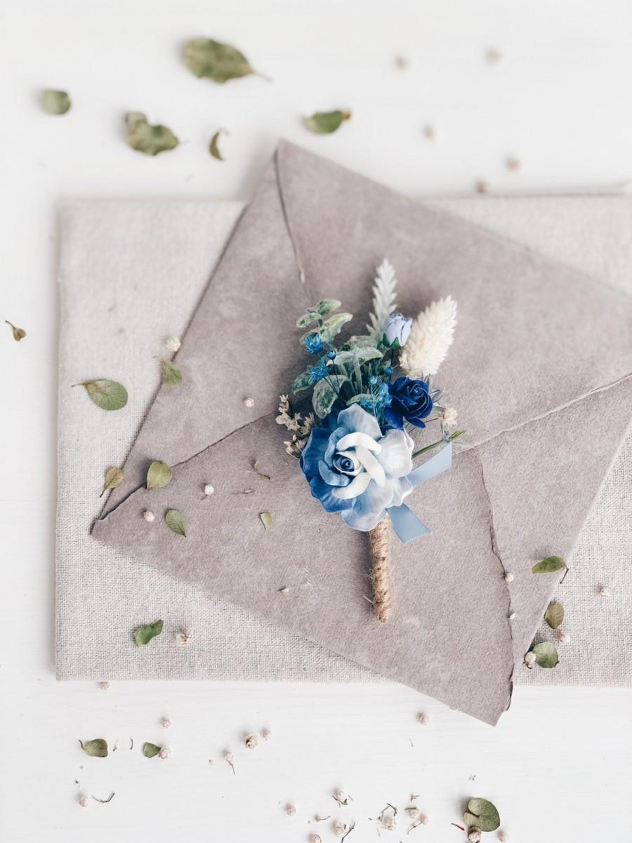 Свадьба - Wedding boutonniere, Set of boutonnière and wrist corsage,Royal Blue boutonniere for men, Blue Rustic boutonniere