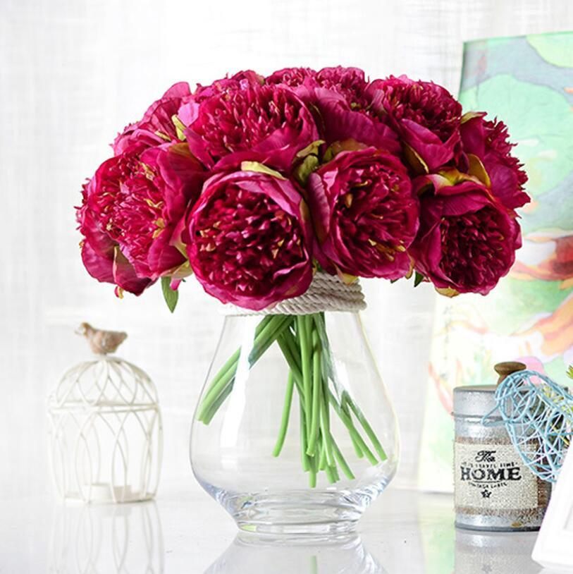 Hochzeit - Amaranth Silk Peony Bouquet Quality Fuchsia Wedding Flowers 5 Heads Artificial Peony Bouquet For Bridal Bridesmaids DIY Flowers Centerpieces