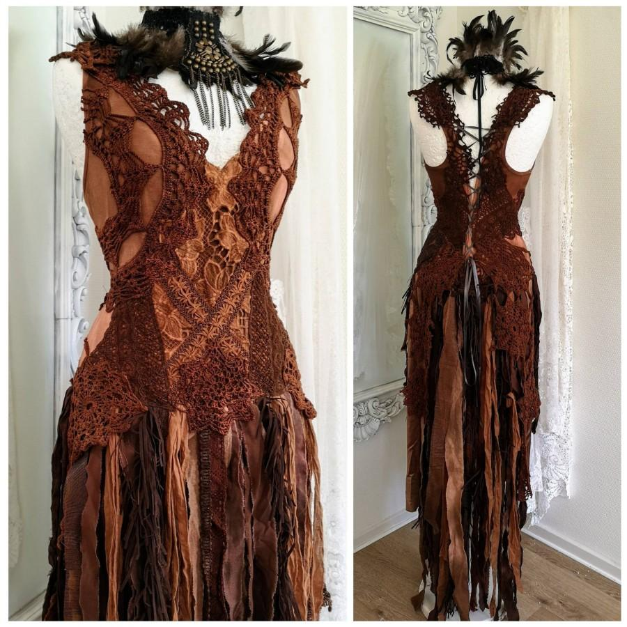 Wedding - Boho wedding dress burned orange, alternative Woodland wedding , bride to be RawRags