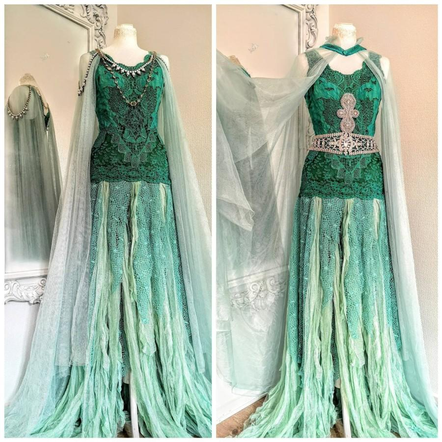 Свадьба - Wedding dress for mermaids ocean colours, bridal gown ethereal with long sleeves, Raw Rags