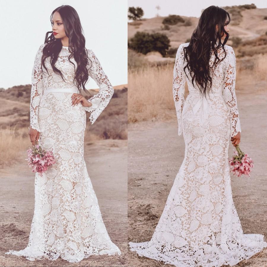 Wedding - Guipure  Lace Boho Bohemian Long Sleeve Mermaid WEDDING Maxi Dress Gown W/ Train Saldana Vintage Elopement Kiara Dress