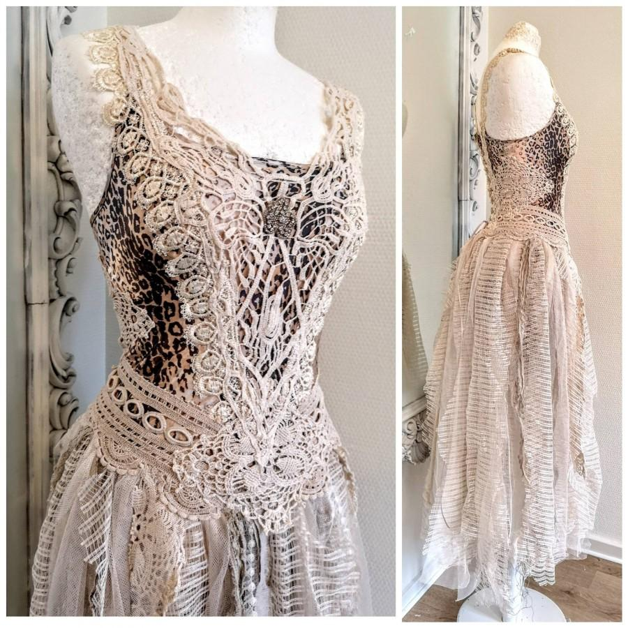 Свадьба - Bohemian wedding dress in leopard print,antique crochet and lace, open back, Raw Rags