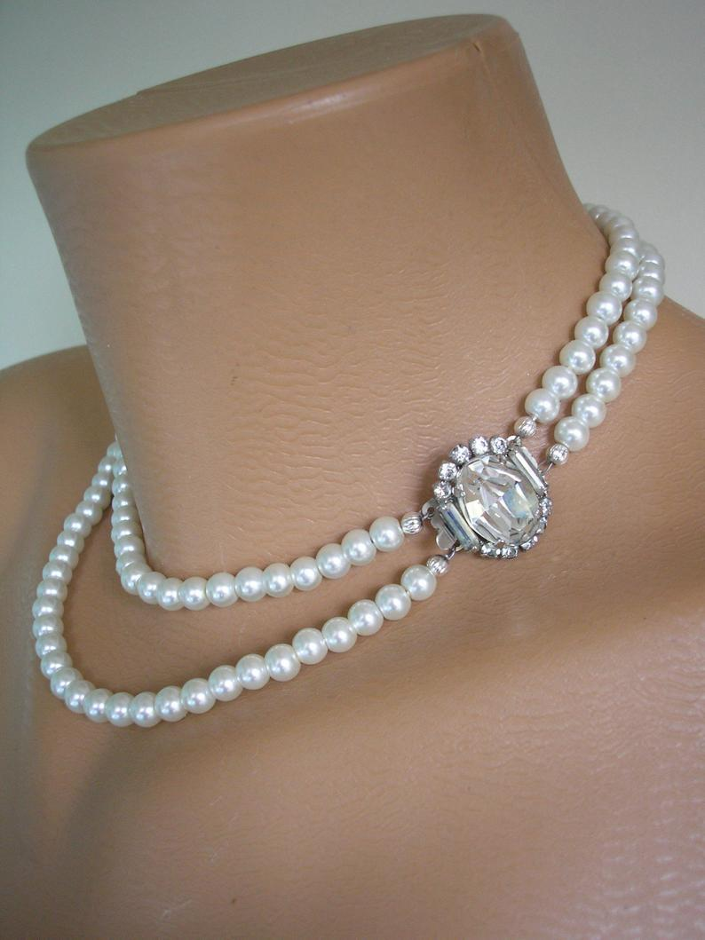 Свадьба - Vintage Pearl Choker With Side Clasp, Two Strand Ivory Pearl Choker, Bridal Pearls, Pearl Wedding Choker, Pearl Necklace, Ivory Pearls