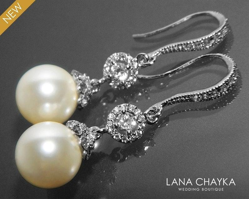 Wedding - Pearl Bridal Chandelier Earrings, Ivory Pearl Silver Earrings, Swarovski 10mm Pearl Earrings, Wedding Pearl Drop Earrings, Bridal Jewelry