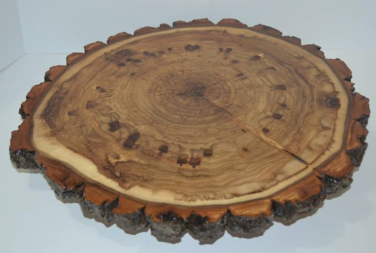 Mariage - Lazy Susan Log Slice with Bark