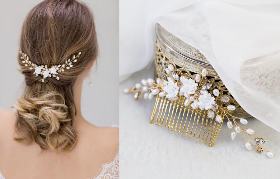 زفاف - Bridal Vintage Headpiece Freshwater Pearls Haircomb Comb with Pearls & Rhinestones in Ivory, Gold Wired Crystals  Wedding Headpiece