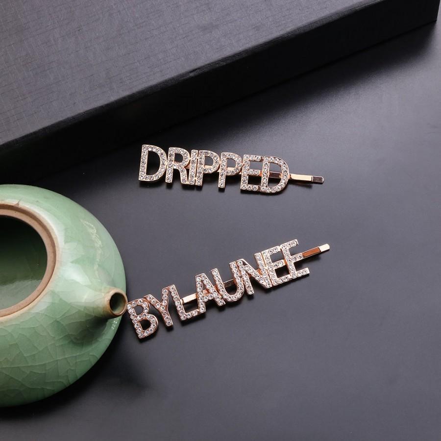 زفاف - new technology,letters Strong.Customized Crystal Hair Pins Personalized Hair Clips Shiny Rhinestone Word  Letters Barrettes Women Name
