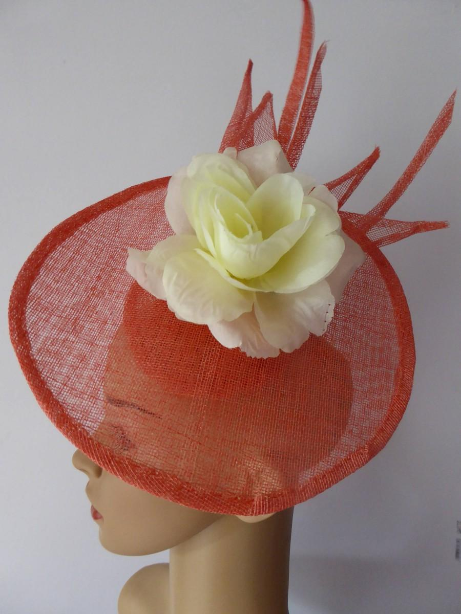 Wedding - Orange Coral cream Fascinator Hat, Cream silk flower, Wedding hat Mother of bride, The races, Special occasion Derby ladies day