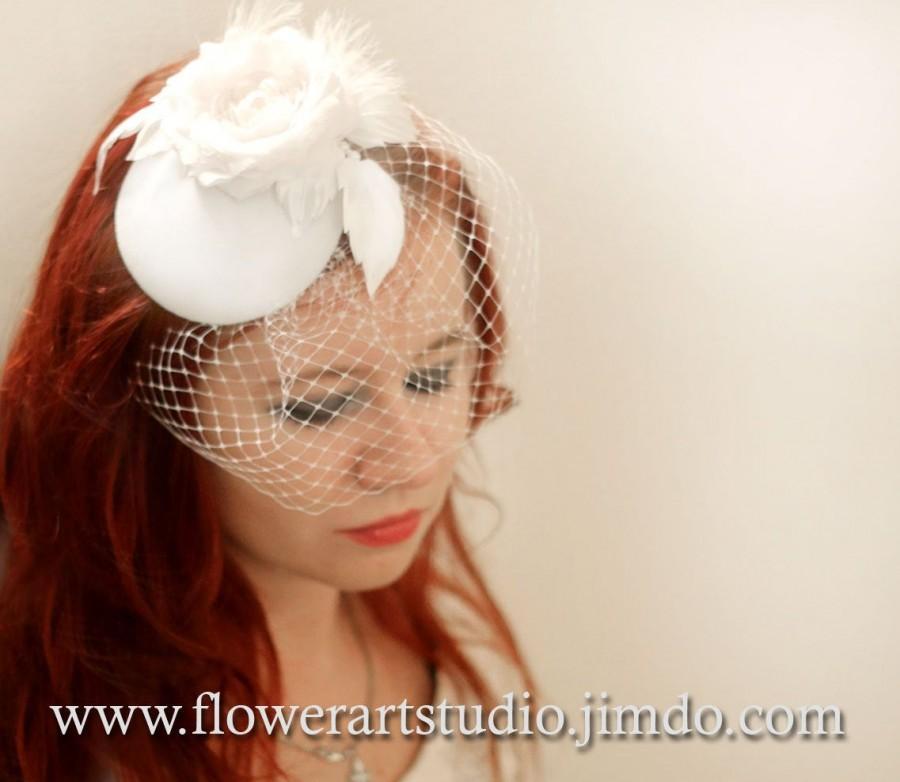 Hochzeit - Bridal Headpiece, Birdcage Fascinator, Birdcage Veil, Bridal Hair Flower, Bridal Small Hat, Bridal Blusher Veil, Bridal Hair Accessories.