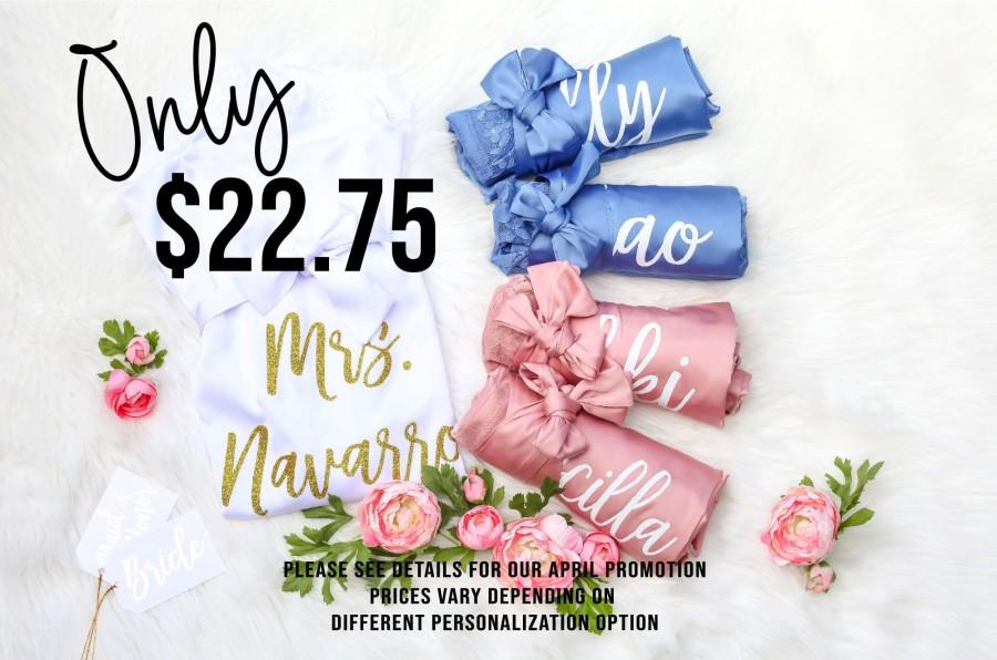 Свадьба - Bridesmaid Robes with Lace, Personalized Robes Set of 5 6 7 8 9 10 11 Bridesmaid gifts Dusty Blue Dusty Rose Robes For Bridesmaids Gifts