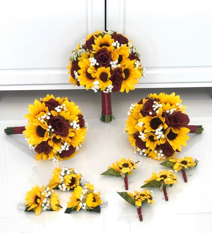 Свадьба - Customize Your Package, Sunflower Bouquet, Burgundy Sunflower Bouquet, Babys Breath, Burgundy Bouquet, Burgundy Rose Sunflower Bouquet