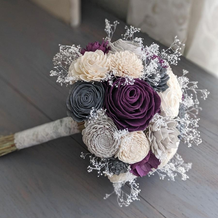Wedding - Plum, Charcoal, Light Gray, and Ivory Sola Wood Flower Bouquet with Baby's Breath - Bridal Bridesmaid Toss