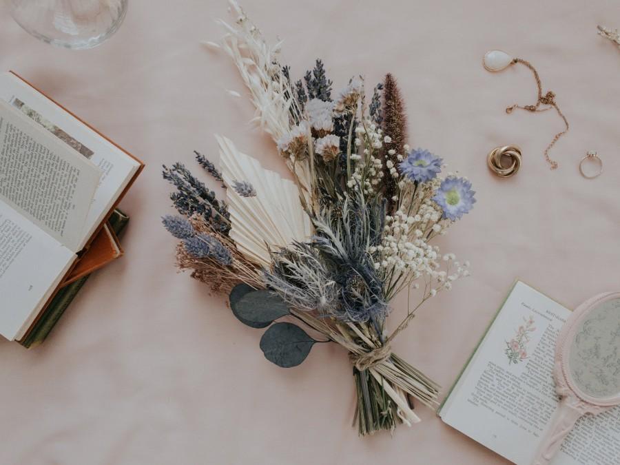 Свадьба - Dried Eucalyptus Bouquet / Scottish Thistle Bouquet / Wildflower Palm Spear Bouquet