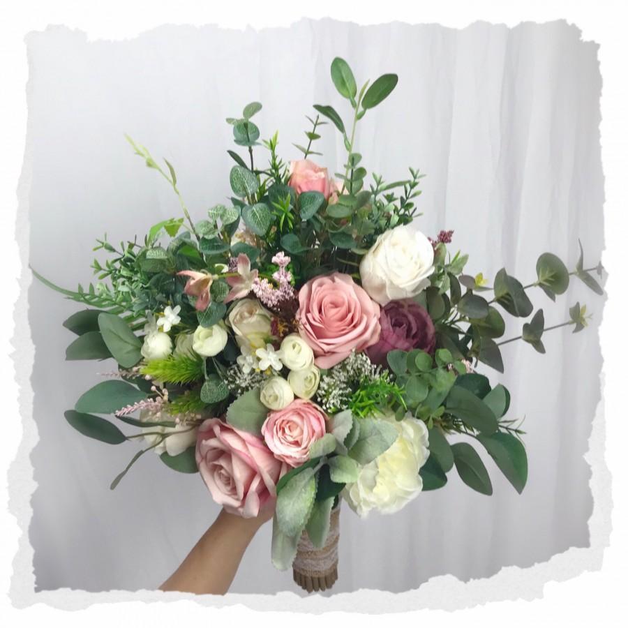 Свадьба - Wedding bouquet ,dusty rose,blush pink white cream 、rose peonies eucalyptus bouquet ,boho bouquets , bridal bridesmaids bouquet