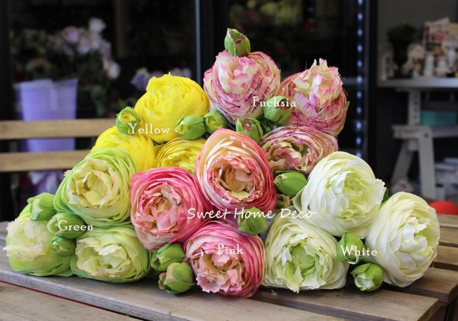 زفاف - JennysFlowerShop 14'' Silk Rannunculus Artificial Flower Bunch Wedding Home Decorations