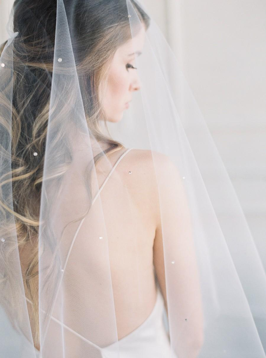 Hochzeit - JASMINE Crystal Wedding Veil with Blusher, Crystal Wedding Veil, Crystal Bridal Veil, Bridal Veil, Wedding Veil, Crystal 2 Tier Veil
