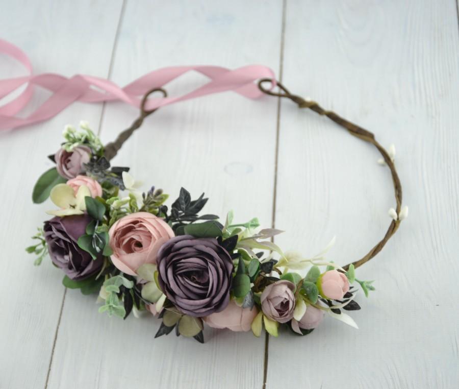 Wedding - Dusty purple blush Flower crown, wedding crown, bridal flower crown, Pink flower crown,flower headband wedding headband, Purple floral crown
