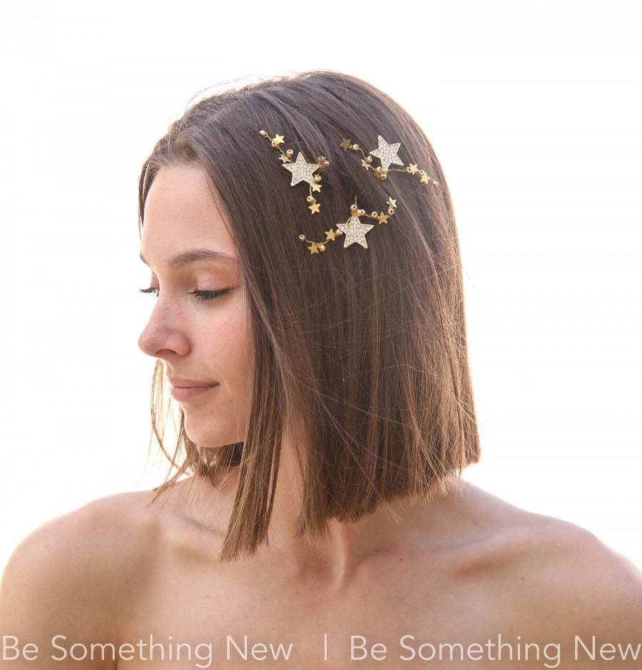Wedding - Gold Hair Pins of Stars and Rhiestones  Bridal Bobby Set Celestial Wedding Beaded Hair Jewelry, Bridal Headpiece, Bridesmaids