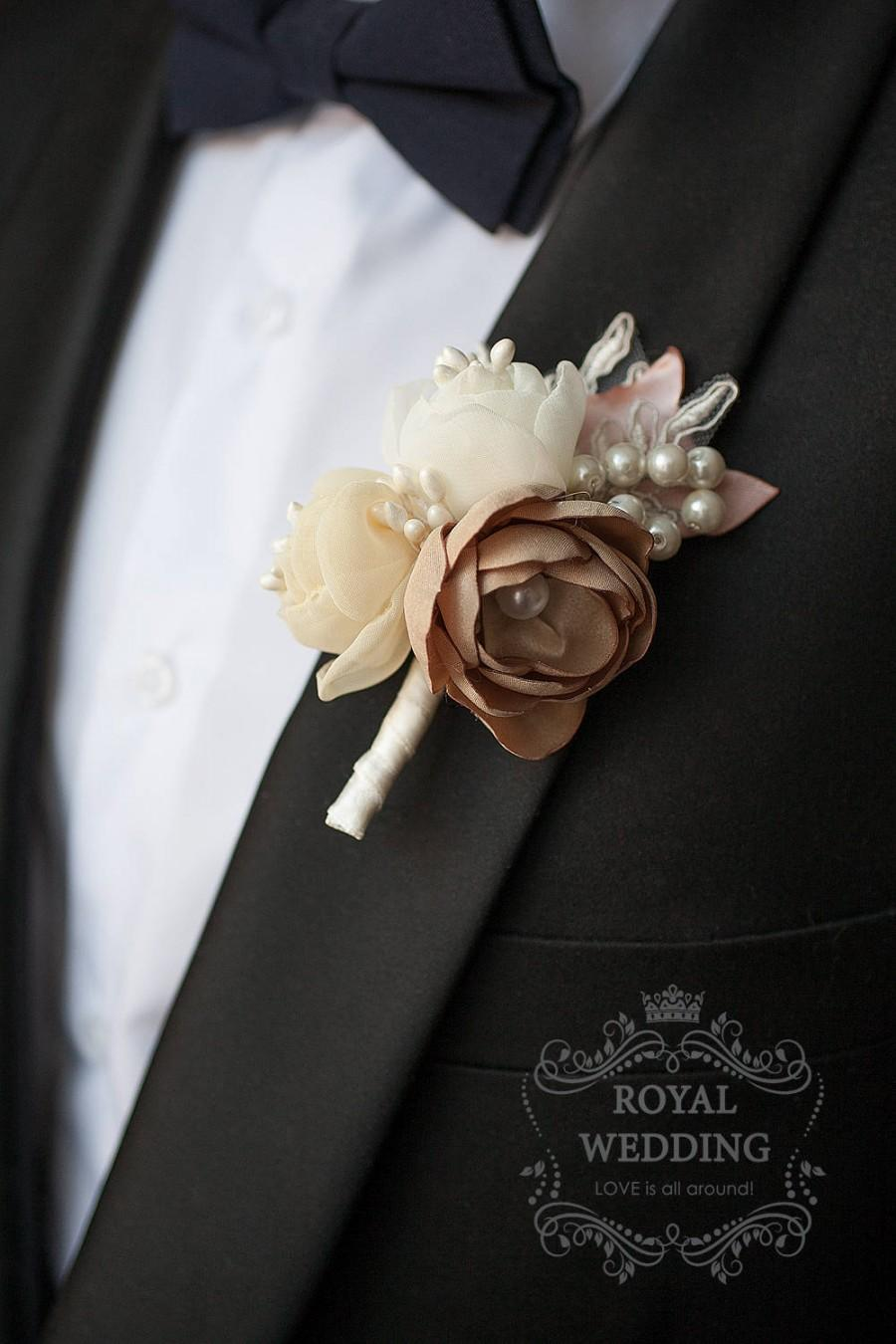 Mariage - Fabric Rose Cream Wedding Boutonniere Groom Accessories Jewelry Pink Decor Groomsman Keepsake Brooch Father Of The Bride Wedding Boutonniere