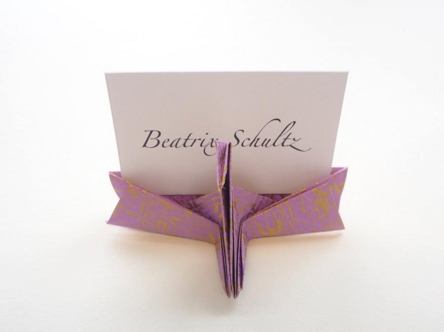 Mariage - Set of 1, 2 or 10 Handmade Paper Origami Crane Name Place Card, Custom, Japanese Wedding Reception, Table Decoration, Christmas Dinner