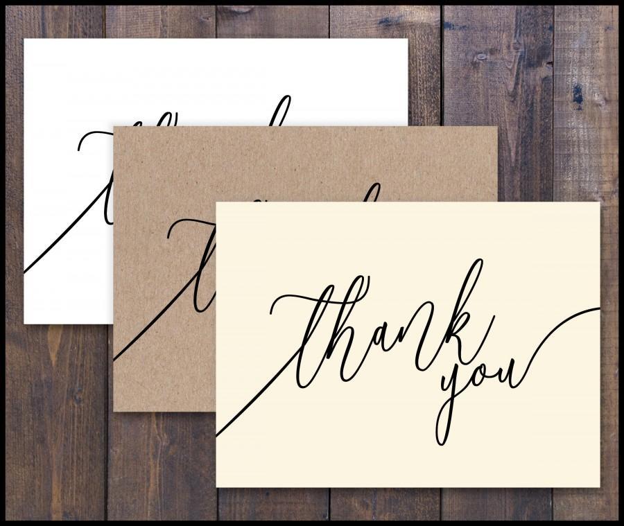 زفاف - PRINTED Thank You Card, Blank, White, Ivory, Kraft, Country Rustic, Insert Card, Oversized Script, Names, Romantic, Elegant, Inexpensive