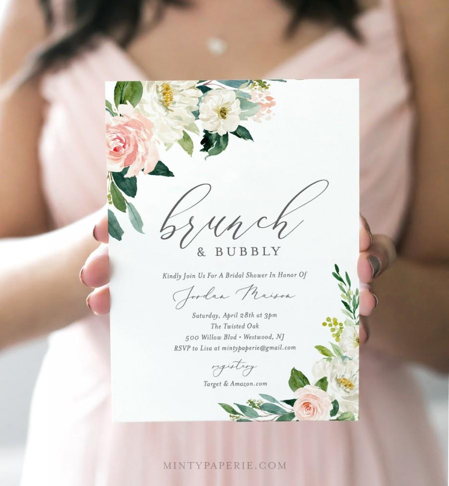 Свадьба - Brunch and Bubbly Bridal Shower Invitation Template, INSTANT DOWNLOAD, Printable Wedding Shower Invite, 100% Editable Text, Blush #043-134BS